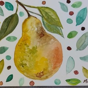 🍐 pear watercolor painting